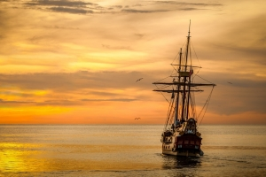 sunset, tall ship, James Lind, International Clinical Trials Day