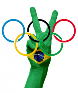 Olympic rings peace sign and Brazilian flag